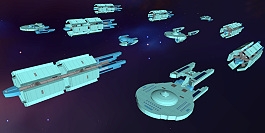 Old era Starfleet convoy, warp freighters inspired by Starfleet Command game